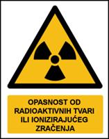 Slika W003 - OPASNOST OD RADIOAKTIVNIH TVARI ILI IONIZIRAJUĆEG ZRAČENJA (CS-OP-008)